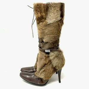 Peter Kent Gen Leather & Fur Boots 8 ITALY